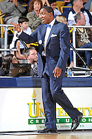 25 February 2012:  FIU Head Coach Isiah Thomas signals to his bench in the second half as the FIU Golden Panthers defeated the University of South Alabama Jaguars, 81-74, at the U.S. Century Bank Arena in Miami, Florida.