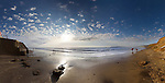 A panoramic landscape of Compton Bay on the Isle of Wight