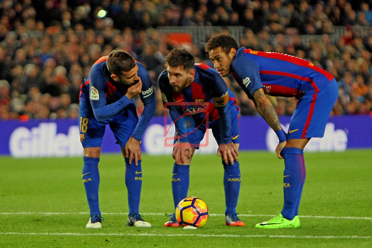 League Santander 2016/2017. Game: 25.<br /> FC Barcelona vs Real Sporting SAD: 6-1.<br /> Jordi Alba, Lionel Messi &amp; Neymar Jr.