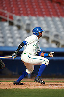 Hartford Yard Goats left fielder Rosell Herrera (7) at bat during the first game of a doubleheader against the Trenton Thunder on June 1, 2016 at Sen. Thomas J. Dodd Memorial Stadium in Norwich, Connecticut.  Trenton defeated Hartford 4-2.  (Mike Janes/Four Seam Images)