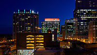 Skyhouse, RedHat and PNC buildings highlight this nighttime view of downtown Raleigh, North Carolina