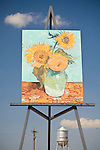 Goodland, Kanasas' 24x32 foot Van Gough Sunflower painting on easel painting by Canadian artist Camron Cross in 2002