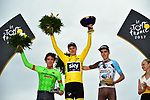 The final podium Christopher Froome (GBR) Team Sky wins his 4th Tour de France with Rigoberto Uran (COL) Cannondale Drapac in 2nd place and Romain Bardet (FRA) AG2R La Mondiale 3rd at the end of Stage 21 of the 104th edition of the Tour de France 2017, an individual time trial running 1.3km from Montgeron to Paris Champs-Elysees, France. 23rd July 2017.<br /> Picture: ASO/Pauline Ballet | Cyclefile<br /> <br /> <br /> All photos usage must carry mandatory copyright credit (&copy; Cyclefile | ASO/Pauline Ballet)