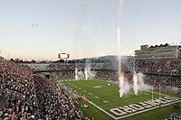 16 September 2006: The stadium pyrotechnics display during Stanford's 37-9 loss to Navy during the grand opening of the new Stanford Stadium in Stanford, CA.