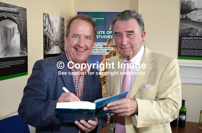 Robert J Savage, the author of &quot;The BBC's Irish Troubles&quot; with former BBC executive, Robin Walsh at the launch of his book in Belfast, N Ireland, 4th June 2014. Walsh was BBC N Ireland news editor during the 70s going on to became Editor of the Network Nine O'Clock News and later Controller NI. Savage, the author of a number of Irish-themed publications, is Professor of the Practice of History  at Boston College, Massachusetts, USA. 201506043898<br /> <br /> Copyright Image from Victor Patterson, 54 Dorchester Park, Belfast, UK, BT9 6RJ<br /> <br /> t1: +44 28 9066 1296<br /> t2: +44 28 9002 2446<br /> m: +44 7802 353836<br /> <br /> e1: victorpatterson@me.com<br /> e2: victorpatterson@gmail.com<br /> <br /> IMPORTANT: My Terms and Conditions of Business are at www.victorpatterson.com