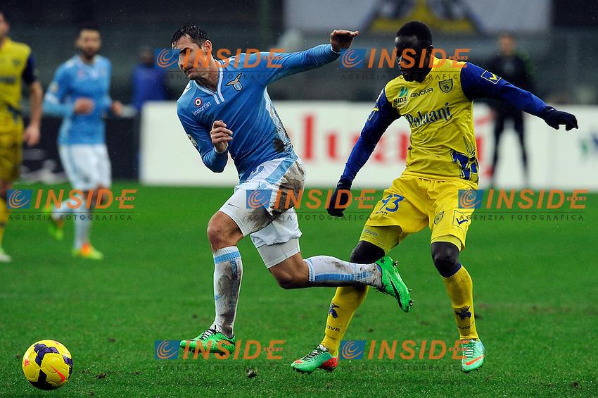 Drame' Boukary Chievo, Miroslav Klose Lazio <br /> Verona 02-02-2014 Stadio Bentegodi. Football Calcio Serie A 2013/2014 Chievo Verona - Lazio foto Insidefoto