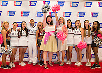 Mississippi State University and the American Cancer Society team up for a &quot;TACKLE CANCER&quot; kickoff event in the Gridiron Club at Davis Wade Stadium. The event featured appearances from The Famous Maroon Band, the new Bully mascot Jak, MSU cheerleaders and Pom Squad. Julia Meyers and Libba Hardwick with the American Cancer Society are pictured with MSU cheerleaders and Pom Squad members. October is Breast Cancer Awareness Month.<br />