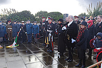 Pictured: Local dignitaries observe a minute's silence. Sunday 11 November 2018<br /> Re: Commemoration for the 100 years since the end of the First World War on Remembrance Day at the Swansea Cenotaph in south Wales, UK.