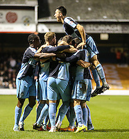Paul Hayes of Wycombe Wanderers (3rd left) celebrates scoring his team's second goal against Luton Town to make it 0-2 during the Sky Bet League 2 match between Luton Town and Wycombe Wanderers at Kenilworth Road, Luton, England on 26 December 2015. Photo by David Horn.