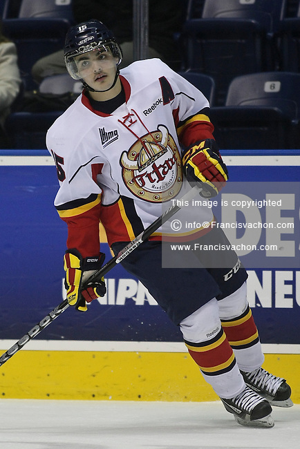 QMJHL (LHJMQ) hockey profile photo on Acadie-Bathurst Titan Adam Stevens November 21, 2012 at the Colisee Pepsi in Quebec city.