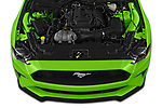 Car Stock 2020 Ford Mustang EcoBoost-Premium 2 Door Convertible Engine  high angle detail view
