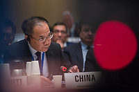 Chinese official speaking at the opening session of the Executive Board Meeting of the World Health Organisation, the UN's health body, at the organisation's headquarters in Geneva. The annual event is taking place in the shadow of the Corona virus outbreak, which the WHO has declared as global health emergency.