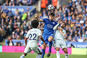 9th September 2017, King Power Stadium, Leicester, England; EPL Premier League Football, Leicester City versus Chelsea; Harry Maguire of Leicester City and Álvaro Morata of Chelsea compete for the header