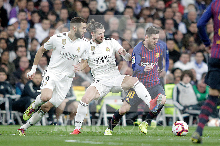 Real Madrid CF's Karim Benzema, Gareth Bale  and FC Barcelona's Leo Messi during La Liga match. March 02,2019. (ALTERPHOTOS/Alconada)