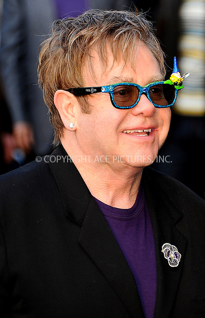 "WWW.ACEPIXS.COM . . . . .  ..... . . . . US SALES ONLY . . . . .....January 30 2011, London....Elton John at the UK film premiere of ""Gnomeo & Juliet"" at the Odeon Leicester Square on January 30 2011 in London....Please byline: FAMOUS-ACE PICTURES... . . . .  ....Ace Pictures, Inc:  ..Tel: (212) 243-8787..e-mail: info@acepixs.com..web: http://www.acepixs.com"