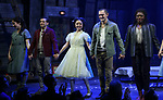 Zachary Infante, Catherine Ricafort, Wesley Taylor, Nkeki Obi-Melekwe with cast during the opening night performance curtain call bows for the MCC Theater's 'Alice By Heart' at The Robert W. Wilson Theater Space on February 26, 2019 in New York City.