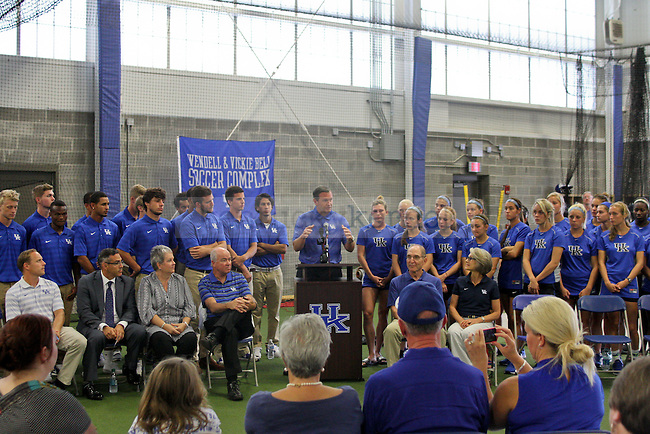 Men's and women's soccer teams were present during the dedication ceremony of the Wendell and Vickie Bell Soccer Complex in Lexington, Ky., on Sunday, August 31, 2014. Photo by Jonathan Krueger | Staff