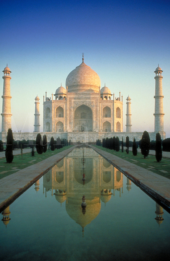 Taj Mahal, overview, Agra, India. Built by Shah Jahan as a mausoleum for his favorite wife. Landmark. ornamental architecture. death, burial customs, romance. Agra Uttar Pradesh India Asia.