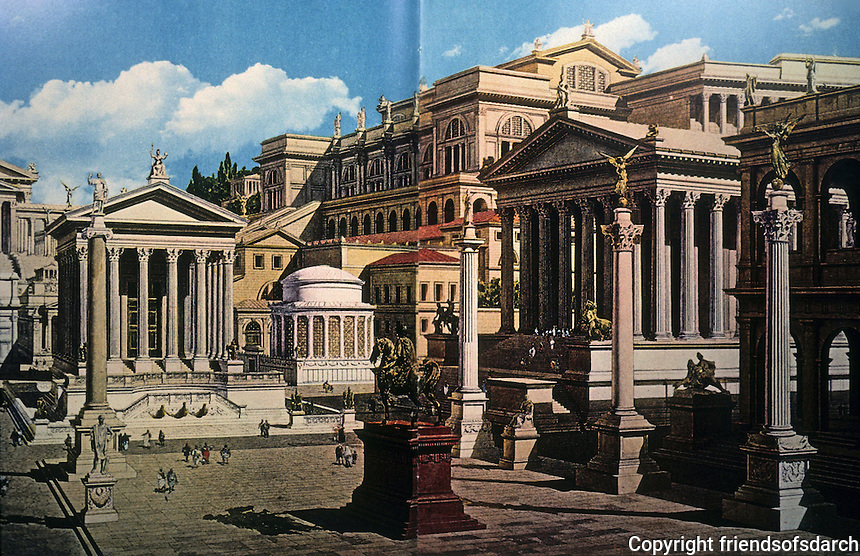 Italy: Rome--Reconstruction of Forum Romanum. From left: Temple of Julius Caesar, Round Temple of Vesta, Temple of the Dioscuri and corner of Basilica Julia with Honorary Columns in front. Background: Palace of Caligula. Reference only.