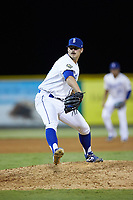 Burlington Royals relief pitcher Patrick Smith (19) in action against the Pulaski Yankees at Burlington Athletic Stadium on August 25, 2019 in Burlington, North Carolina. The Yankees defeated the Royals 3-0. (Brian Westerholt/Four Seam Images)