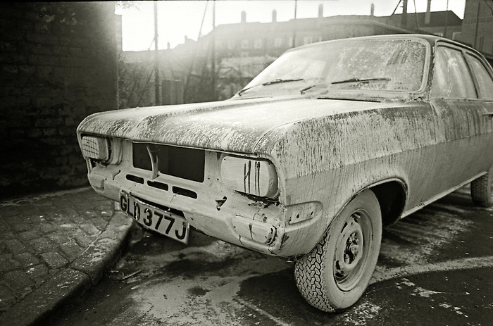 A car covered in whitewash paint. Wapping, East London. England 1984. [This area was subsequently the site of the massive Docklands redevelopment.]<br />
