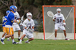 Los Angeles, CA 04/02/10 - ConnorDeVane (LMU #30), John Gilbreath (LMU #14) and Aaron Hemeon (UCSB #6) in action during the UCSB-LMU MCLA SLC conference lacrosse game at Loyola Marymount University.