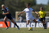 Sanford, FL - Saturday Oct. 14, 2017:  A Pride player prepares to pass the ball up field during a US Soccer Girls' Development Academy match between Orlando Pride and NC Courage at Seminole Soccer Complex. The Courage defeated the Pride 3-1.