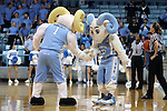 16 February 2017: UNC mascots Rameses (left) and RJ (right). The University of North Carolina Tar Heels hosted the Ramblin' Wreck from Georgia Tech University at Carmichael Arena in Chapel Hill, North Carolina in a 2016-17 NCAA Division I Women's Basketball game. North Carolina won the game 89-88.