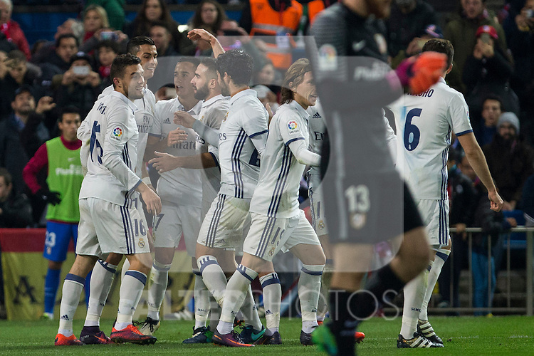 Real Madrid's Cristiano Ronaldo Lucas Vazquez  Garet Bale Mateo Kovacic during the match of La Liga between Atletico de Madrid and Real Madrid at Vicente Calderon Stadium  in Madrid , Spain. November 19, 2016. (ALTERPHOTOS/Rodrigo Jimenez)