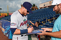 Fort Myers Miracle third baseman Travis Blankenhorn (7) signs autographs before a game against the Clearwater Threshers on May 31, 2018 at Spectrum Field in Clearwater, Florida.  Clearwater defeated Fort Myers 5-1.  (Mike Janes/Four Seam Images)