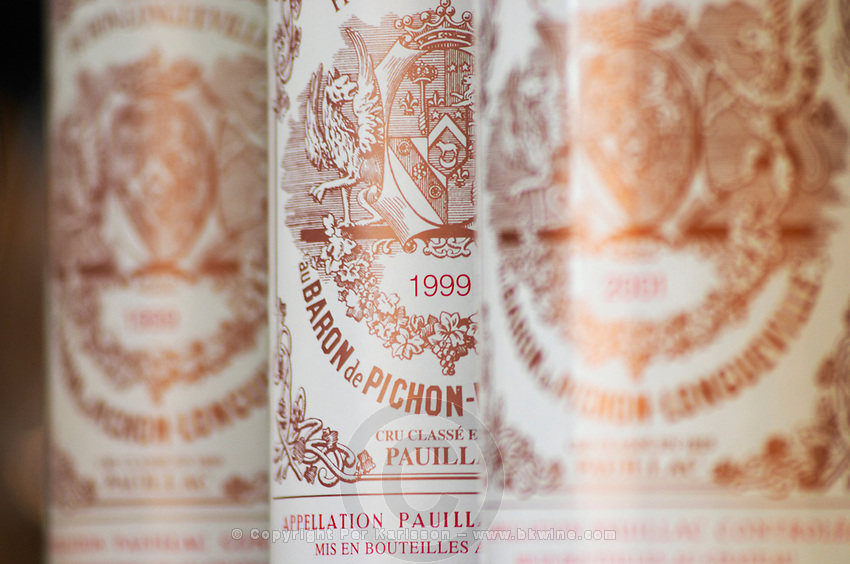 A row of bottles standing in line - Chateau Baron Pichon Longueville, Pauillac, Medoc, Bordeaux, Grand Cru