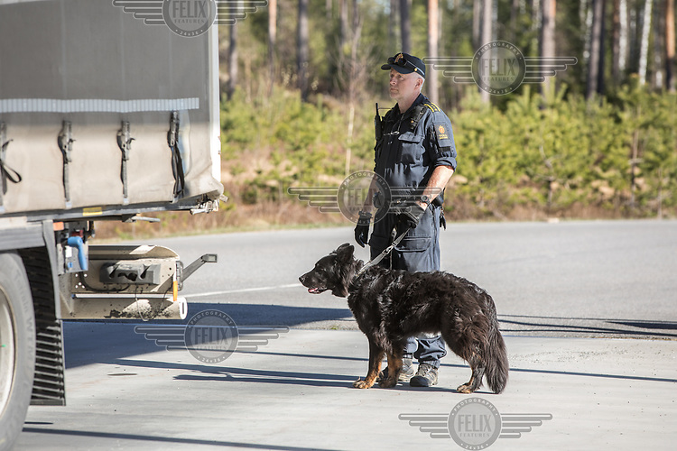 A customs officer with a dog checking a truck.  Norwegian authorites introduced strict measures to combat the Coronavirus (COVID-19) in March 2020. This included closing the borders, and any Norwegians returning from abroad is given two weeks quarantine. <br /> <br /> Police and soldiers from the Home Guard of the Army (Heimevernet) man checkpoints along side roads and regular border crossings to enforce the travel restrictions.<br /> <br /> <br /> <br /> ©Fredrik Naumann/Felix Features