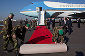 A red carpet is unrolled at the base of the stairs of Air Force One as President Barack Obama arrives at at Ruzyne Airport in Prague, Czech Republic, Thursday, April 8, 2010. .Mandatory Credit: Pete Souza - White House via CNP