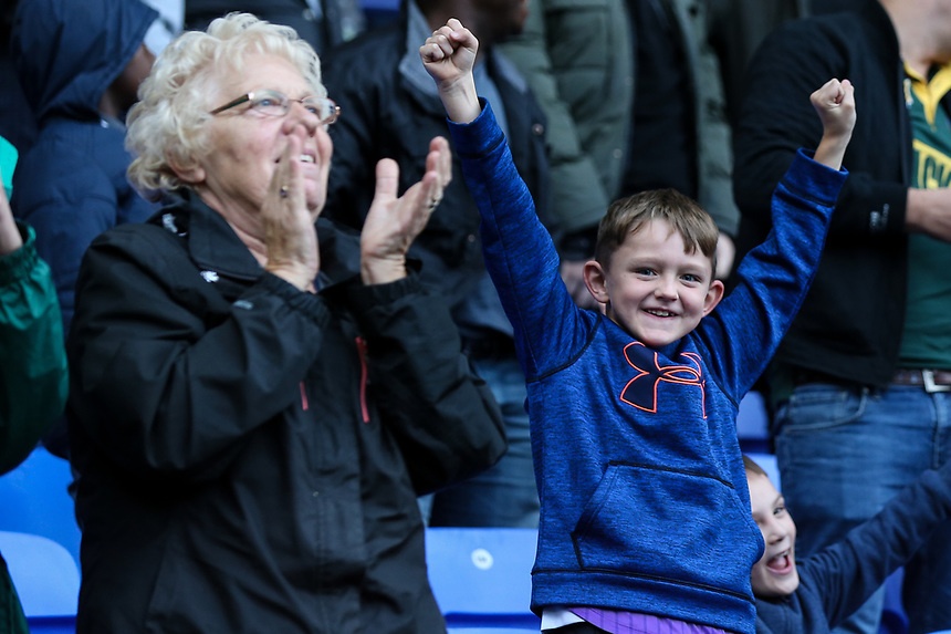 Bolton supporters celebrate their side's second goal<br /> <br /> Photographer Andrew Kearns/CameraSport<br /> <br /> The EFL Sky Bet Championship - Bolton Wanderers v Sheffield Wednesday - Saturday 14th October 2017 - Macron Stadium - Bolton<br /> <br /> World Copyright &copy; 2017 CameraSport. All rights reserved. 43 Linden Ave. Countesthorpe. Leicester. England. LE8 5PG - Tel: +44 (0) 116 277 4147 - admin@camerasport.com - www.camerasport.com