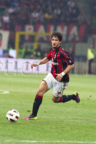 02.04.2011 Alexandre Pato scores two and Antonio Cassano converts a penalty against Inter in what could potentially be a title deciding result. Picture shows Alex Pato.