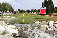 The 13th hole during Sunday's Final Round of the 2017 Omega European Masters held at Golf Club Crans-Sur-Sierre, Crans Montana, Switzerland. 10th September 2017.<br /> Picture: Eoin Clarke | Golffile<br /> <br /> <br /> All photos usage must carry mandatory copyright credit (&copy; Golffile | Eoin Clarke)