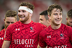 Isaac Kaay of Canada (left) celebrates winning the game with teammates at the conclusion of the match Canada vs England, Day 2 of the HSBC Singapore Rugby Sevens as part of the World Rugby HSBC World Rugby Sevens Series 2016-17 at the National Stadium on 16 April 2017 in Singapore. Photo by Victor Fraile / Power Sport Images