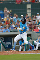 Myrtle Beach Pelicans outfielder Roberto Caro (20) at bat during a game against the Winston Salem Dash at Ticketreturn.com Field at Pelicans Ballpark on July 22, 2018 in Myrtle Beach, South Carolina. Winston-Salem defeated Myrtle Beach 7-2. (Robert Gurganus/Four Seam Images)