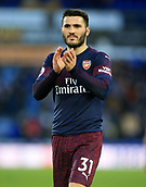 9th February 2019, The John Smith's Stadium, Huddersfield, England; EPL Premier League football, Huddersfield versus Arsenal; Sead Kolasinac of Arsenal applauds the visiting fans at the final whistle