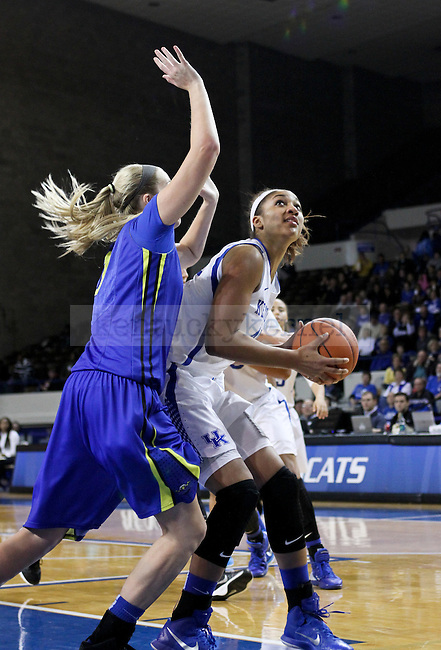 Kentucky center Alyssa Rice looks for space to go up  and shoot during the second half of the UK Hoops vs. Morehead State women's Basketball game at Memorial Coliseum in Lexington , Ky., on Tuesday, November 18, 2014. Photo by Jonathan Krueger | Staff