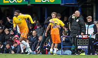 Jerell Sellars (Loanee from Aston Villa) of Wycombe Wanderers is taken off in place of Rowan Liburd (Loanee from Reading) of Wycombe Wanderers during the Sky Bet League 2 match between Portsmouth and Wycombe Wanderers at Fratton Park, Portsmouth, England on 23 April 2016. Photo by Andy Rowland.