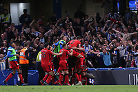 Huddersfield Town players celebrate their opening goal scored by Laurent Depoitre during Chelsea vs Huddersfield Town, Premier League Football at Stamford Bridge on 9th May 2018