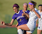Rosati-Kain's Olivia Wilmsmeyer (left) grapples with Notre Dame's Mary Dimberger over possession of the ball. Notre Dame High School (Cape Girardeau) defeated Rosati-Kain in the Class 2 girls quarterfinal game played at St. Louis University High School in St. Louis, MO on Wednesday May 22, 2019.<br /> Tim Vizer/Special to STLhighschoolsports.com