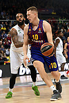 Turkish Airlines Euroleague 2018/2019. <br /> Regular Season-Round 16.<br /> FC Barcelona Lassa vs Darussafaka Tekfen Istanbul: 97-65.<br /> Rolands Smits vs Stanton Kidd.