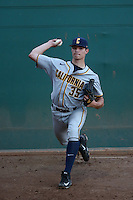 Aaron Shortridge (35) of the California Bears throws in the bullpen before a game against the Southern California Trojans at Dedeaux Field on March 18, 2016 in Los Angeles, California. California defeated Southern California, 5-4. (Larry Goren/Four Seam Images)