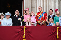Queen, Prince Phillip, Catherine Duchess of Cambridge, Princess Charlotte, Prince George, Prince William, Savannah and Isla Phillips<br /> on the balcony of Buckingham Palace during Trooping the Colour on The Mall, London. <br /> <br /> <br /> &copy;Ash Knotek  D3283  17/06/2017