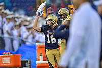 Annapolis, MD - September 8, 2018: Navy Midshipmen place kicker Bennett Moehring (16) gets the crowd pumped before a 4th down play from Memphis during game between Memphis and Navy at  Navy-Marine Corps Memorial Stadium in Annapolis, MD. (Photo by Phillip Peters/Media Images International)