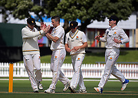 Steve Murdoch (left) congratulates Hamish Bennett on a wicket during day three of the Plunket Shield cricket match between the Wellington Firebirds and Otago Volts at the Hawkins Basin Reserve in Wellington, New Zealand on Wednesday, 1 November 2017. Photo: Dave Lintott / lintottphoto.co.nz