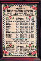 Hand embroidered birth record of an Amish family. Strasburg Pennsylvania USA Lancaster County.