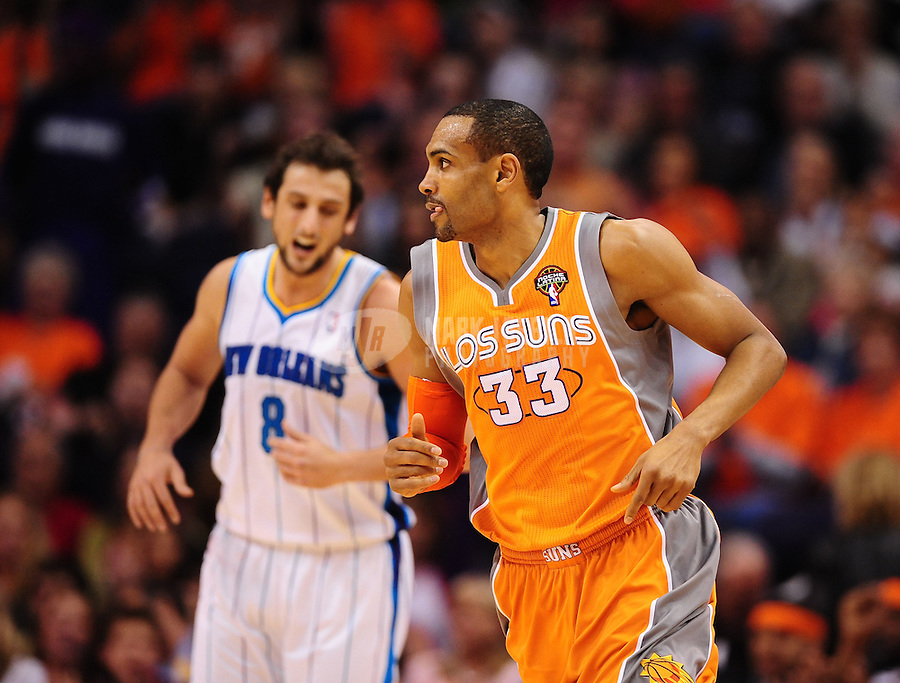 Mar. 25, 2011; Phoenix, AZ, USA; Phoenix Suns forward (33) Grant Hill against the New Orleans Hornets at the US Airways Center. The Hornets defeated the Suns 106-100. Mandatory Credit: Mark J. Rebilas-.